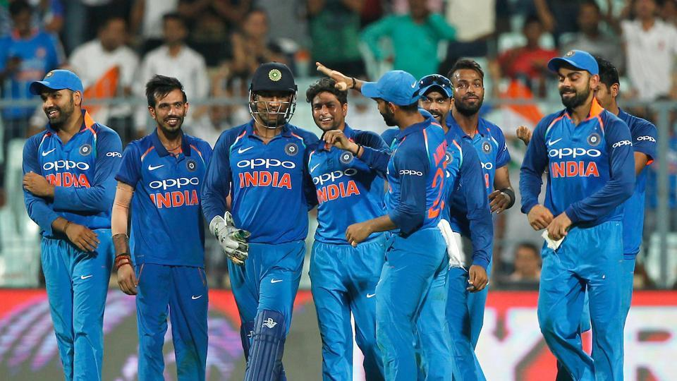 Kuldeep Yadav became the third Indian bowler after Chetan Sharma and Kapil Dev to take a hat-trick in ODIs as India defeated Australia by 50 runs to take a 2-0 lead in the five-match series. (BCCI)