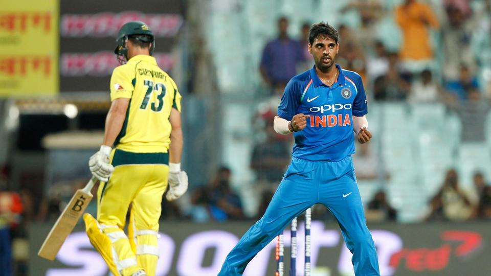 Bhuvneshwar Kumar struck early as he removed Hilton Cartwright cheaply. (BCCI)