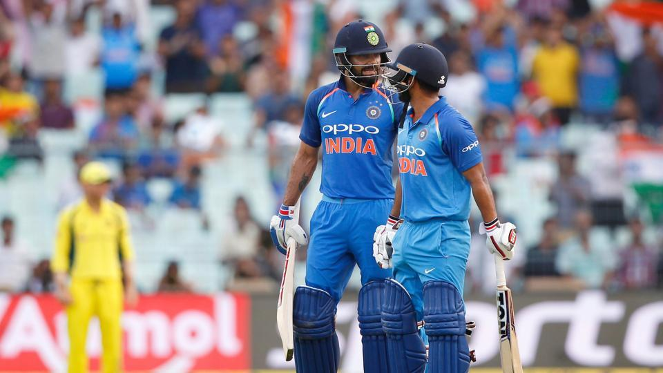 Australia tried to fight back by taking the wickets of Rahane and Manish Pandey but Kedar Jadhav strung an aggressive fifty-run stand. (BCCI)