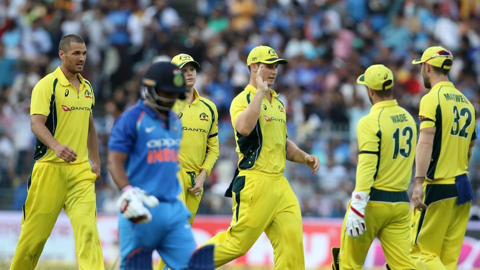 Australia struck with the wicket of Jadhav and proceeded to dent India's progress in the middle overs.  (BCCI)