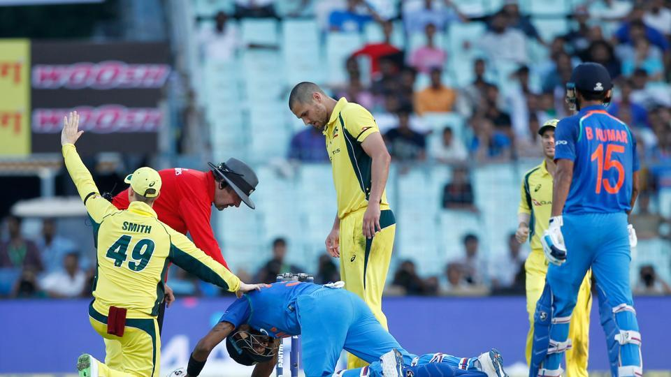 Hardik Pandya was hit on the head by a straight drive from Bhuvneshwar Kumar but the batsman was alright.  (BCCI)