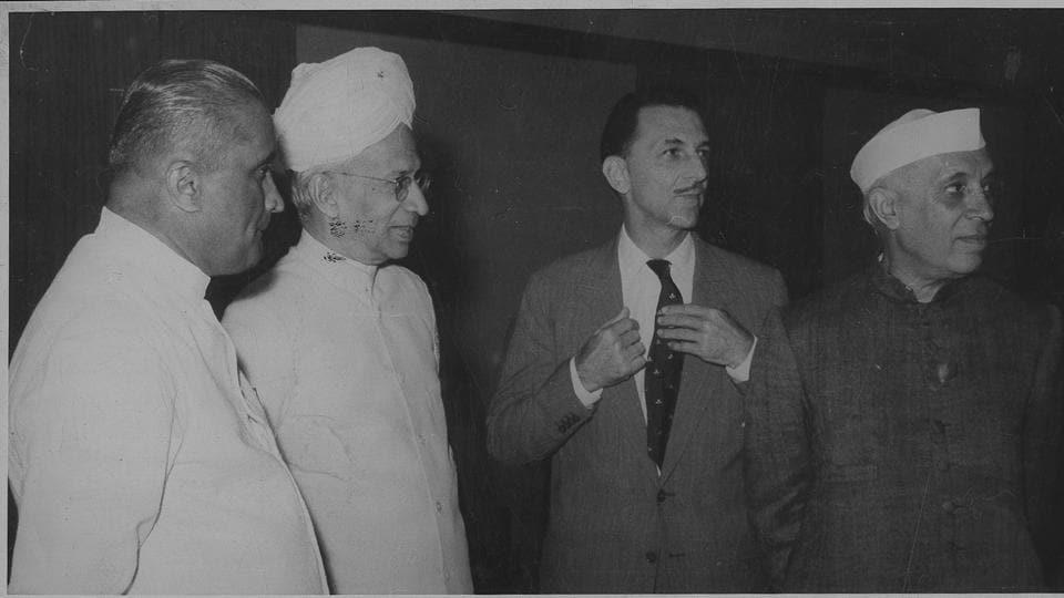 Sarvepalli Radhakrishnan, Jawaharlal Nehru and JRD Tata in New Delhi, October 28, 1958