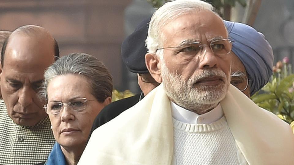 Congress president Sonia Gandhi (left) and Prime Minister Narendra Modi.