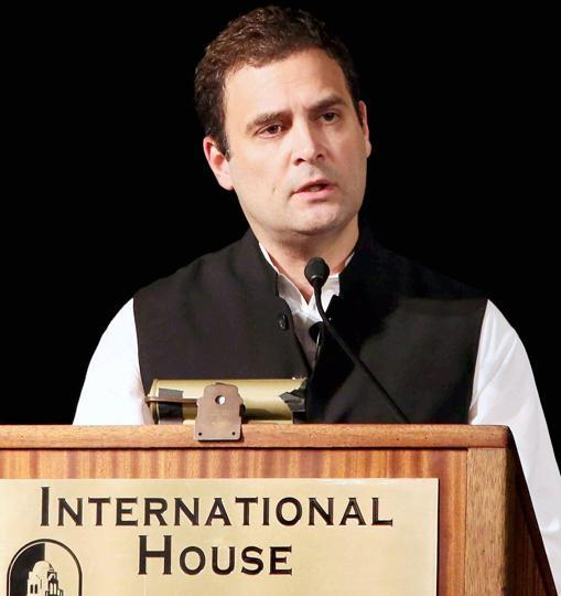Congress vice-president Rahul Gandhi delivers a speech at the Institute of International Studies at UC Berkeley, California on September 12.