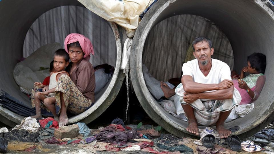 Rohingya refugees living in concrete pipes in Cox's Bazar, Bangladesh, September 20, 2017.