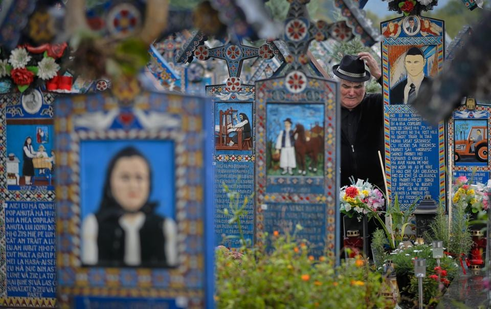 Death isn't always tragic, at least not in this Romanian cemetery, where the dead beguile visitors with tales of their lives. The Merry Cemetery in the northwestern village of Sapanta is a collection of more than 1,000 elaborate wooden Orthodox crosses etched with colourful epitaphs and childlike drawings. (Vadim Ghirda / AP)