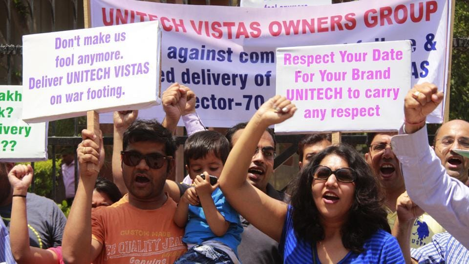 Buyers of Unitech Vistas protest the delayed delivery of flats in Sector 70 of Gurgaon.
