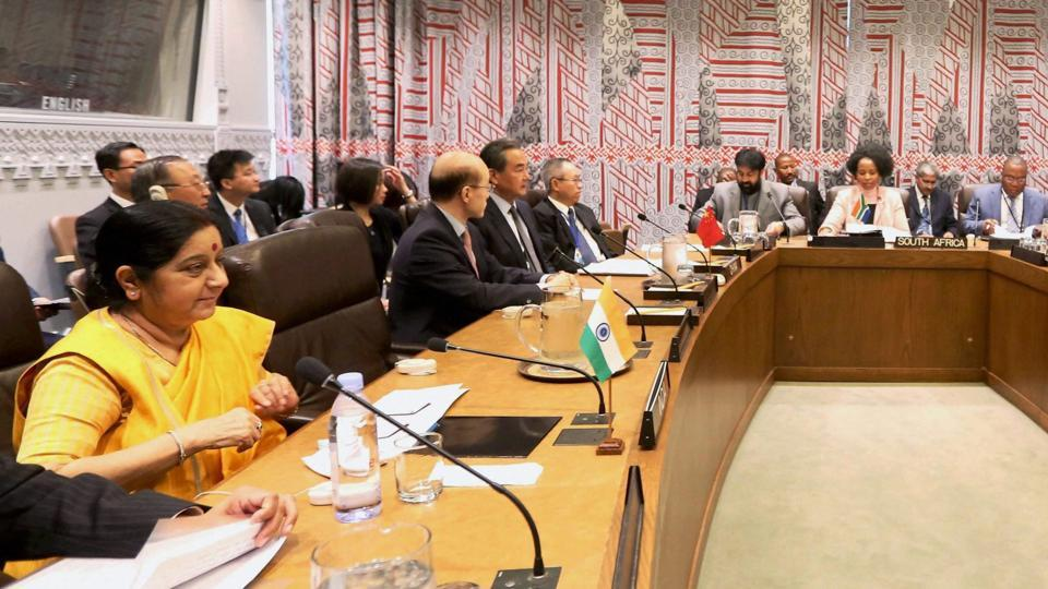 External affairs minister Sushma Swaraj at a meeting of BRICS leaders, on the sidelines of the United Nations General Assembly in New York on September 21, 2017.