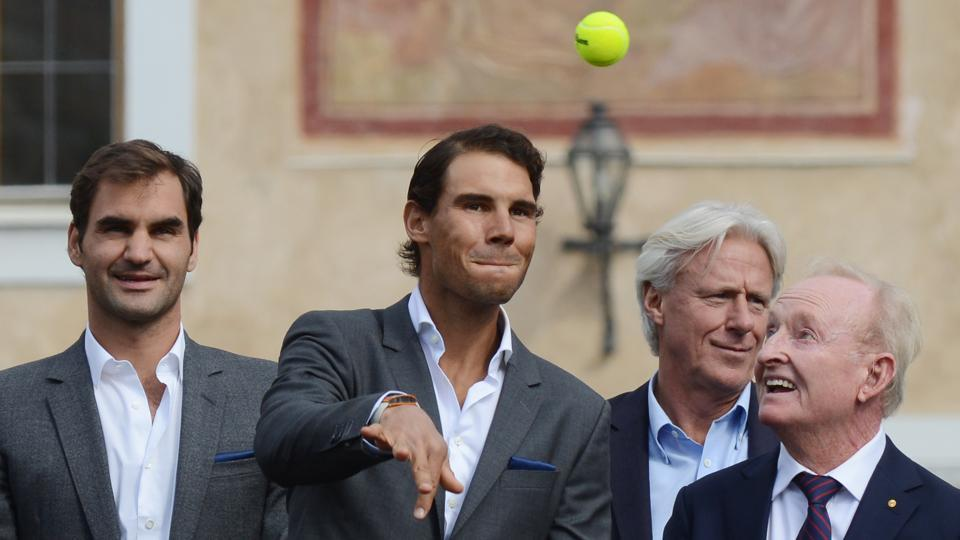 (L to R)  Roger Federer, Rafael Nadal, Bjorn Borg and and Rod Laver during a presentation ceremony ahead of the Laver Cup tennis tournament in Prague on Wednesday. European players will compete against players from the rest of the World during the Laver Cup tournament that runs from September 22-24.