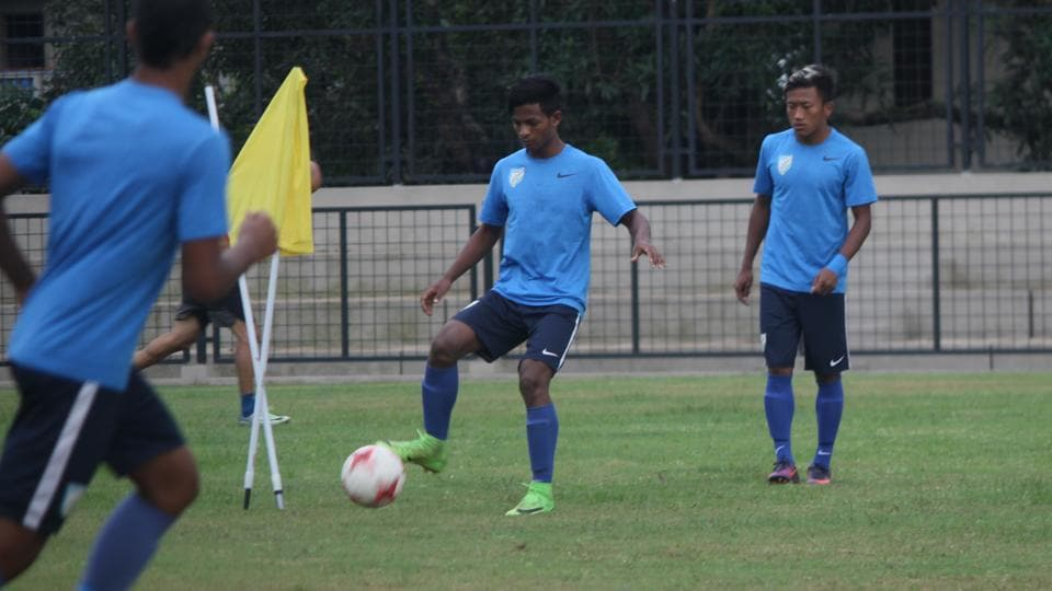 India U-17 football team players practice ahead of the 2017 FIFA U-17 World Cup. (AIFF)
