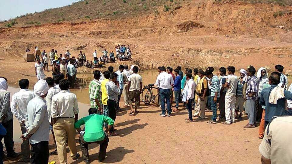A water-filled mining pit near Khajuraho in Chhatarpur district where two children had drowned earlier this year.