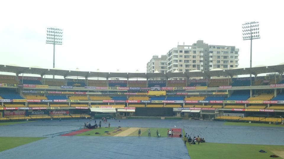 The Holkar Stadium in Indore under cover to protect the ground from rain.