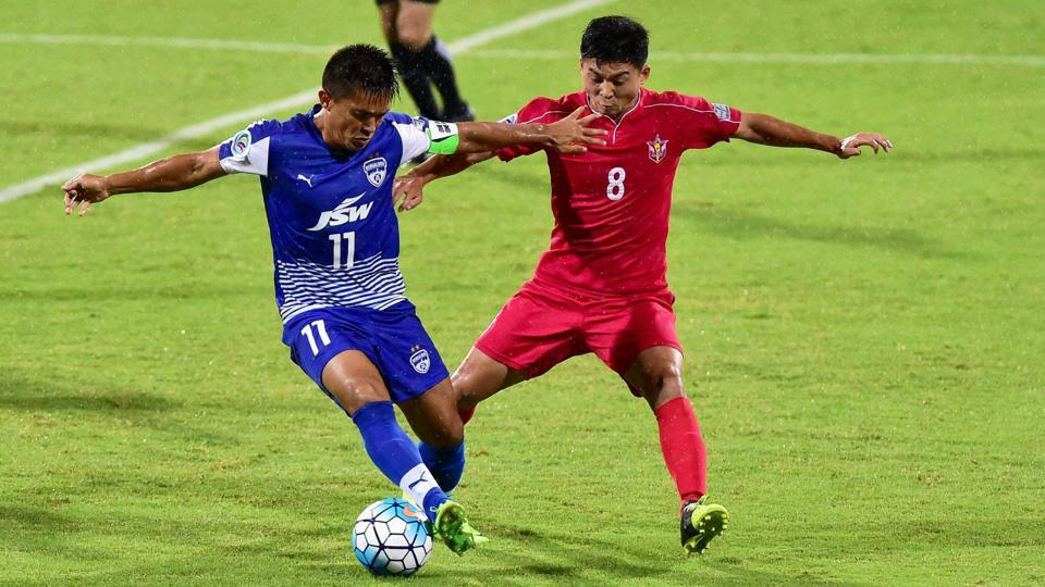 Bengaluru FC captain Sunil Chettri in action during the AFC Cup inter-zone semifinal match against 25 SC North Korea at Kanteerava Stadium in Bengaluru recently.