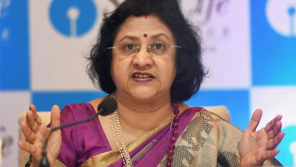 SBI Chairperson Arundhati Bhattacharya speaks during a press conference in Mumbai on September 13, 2017.
