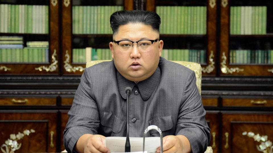 North Korea's leader Kim Jong Un makes a statement regarding US President Donald Trump's speech at the UN general assembly, in this undated photo released by North Korea's Korean Central News Agency (KCNA) in Pyongyang September 22.