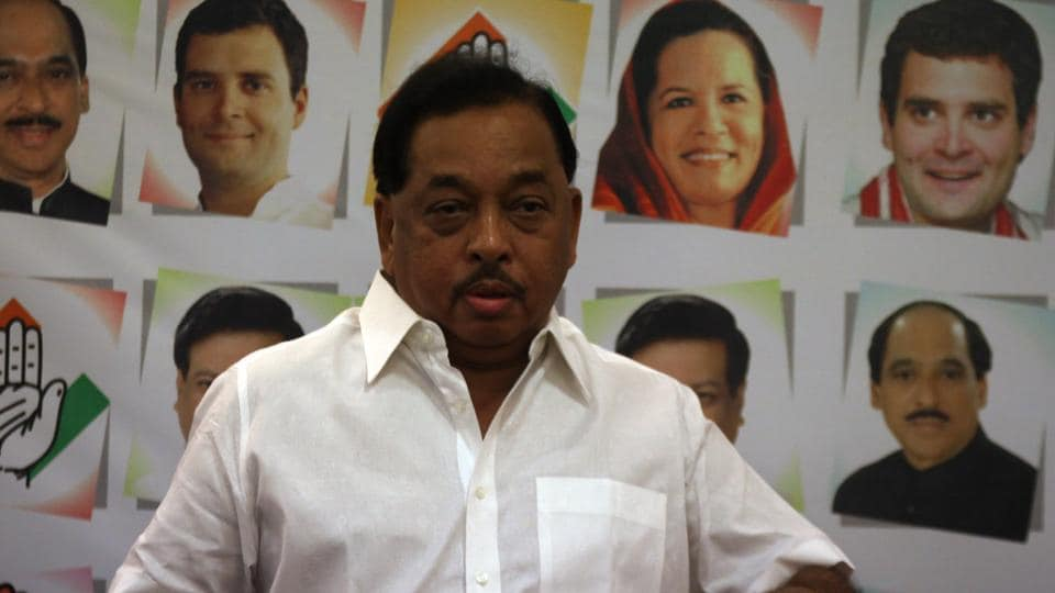 senior Congress leader Narayan Rane interacts with media during a press conference in Mumbai.
