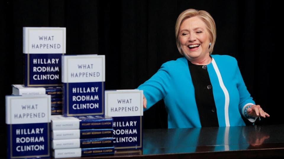 Former Secretary of State Hillary Clinton attends a signing of her new book 'What Happened' at Barnes & Noble bookstore at Union Square in Manhattan, New York City