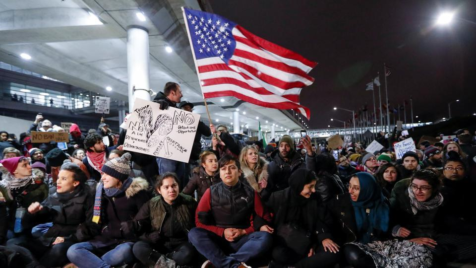 People gather to protest against the travel ban imposed by US President Donald Trump's executive order, in Chicago, Illinois, US  in January, 2017.