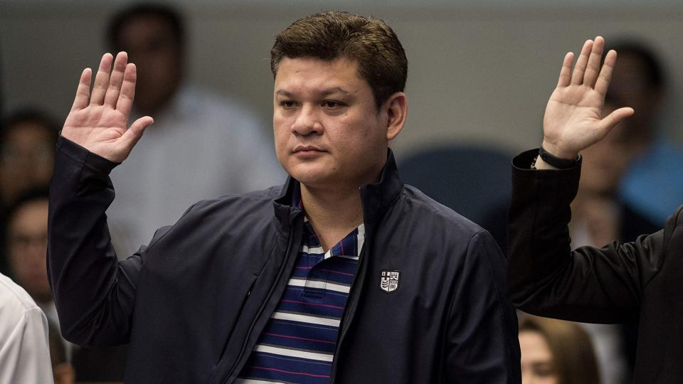 This September 7, 2017 image shows Davao City Vice Mayor Paolo Duterte, son of Philippine President Rodrigo Duterte, taking an oath as he attends a senate hearing in Manila. Philippine President Rodrigo Duterte said Wednesday he has ordered law enforcers to kill his own children, two of whom serve as mayor and vice mayor of his southern home city, if they're found to be involved in the narcotics trade following allegations of belonging to a drug trafficking ring. (Noel Celis / AFP)