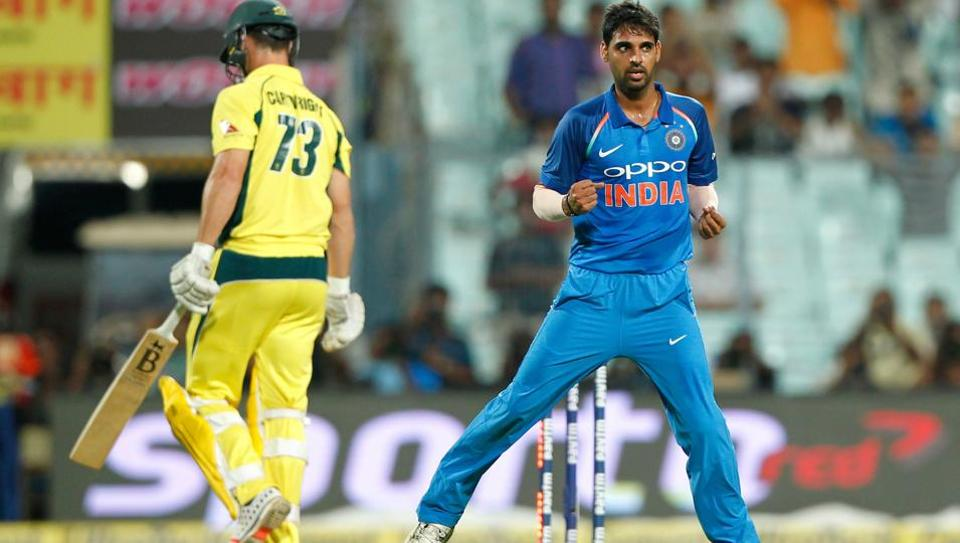 Bhuvneshwar Kumar of India celebrates the wicket of Hilton Cartwright of Australia during the 2nd One Day International between India and Australia at the Eden Gardens in Kolkata on Thursday.