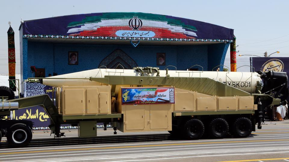 The new Iranian long range missile Khoramshahr is displayed during the annual military parade marking the anniversary of the outbreak of its devastating 1980-1988 war with Saddam Hussein's Iraq, on September 22,2017 in Tehran, President Hassan Rouhani vowed that Iran would boost its ballistic missile capabilities despite criticism from the United States and also France.