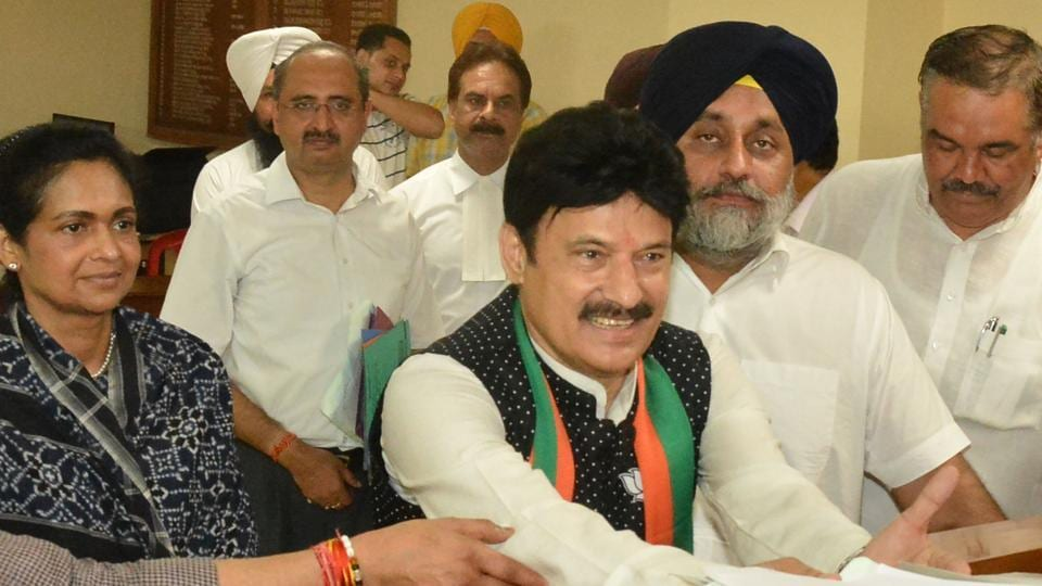Swaran Salaria of the BJP filing his nomination papers for the Gurdaspur Lok Sabha bypoll.