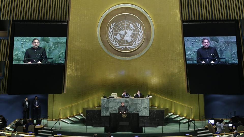 Pakistani Prime Minister Shahid Khaqan Abbasi addresses the 72nd United Nations General Assembly at UN headquarters in New York.
