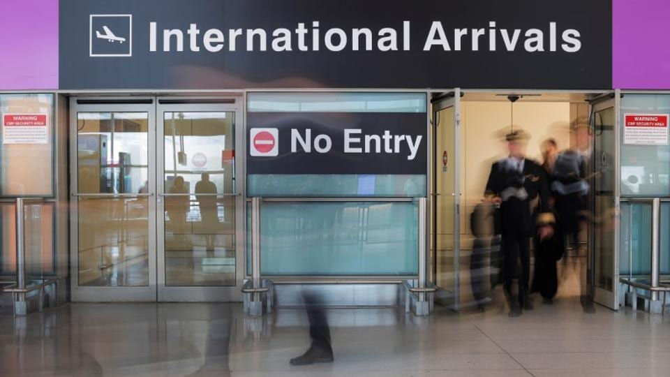 An Iceland Air flight crew arrives on the day that US President Donald Trump's limited travel ban, approved by the US Supreme Court, came into effect, at Logan Airport in Boston, Massachusetts, U.S., June 29, 2017.