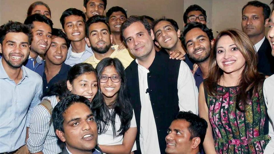 Congress vice president Rahul Gandhi in a group photo with students of Princeton University in New Jersey on September 20.