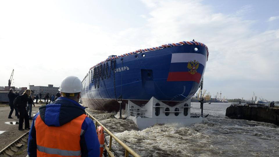 Journalists attend the float out of the Sibir (Siberia) nuclear-powered icebreaker of project 22220, which is scheduled to be completed in 2020, at the Baltic shipyard in Saint Petersburg on Friday.
