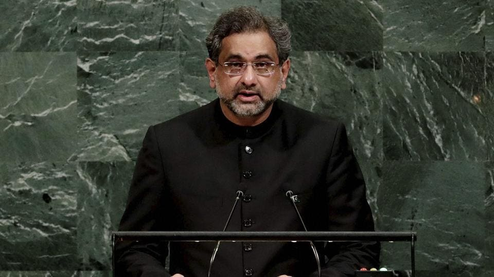 Prime Minister of Pakistan Shahid Khaqan Abbasi addresses the United Nations General Assembly Thursday, at the United Nations headquarters.