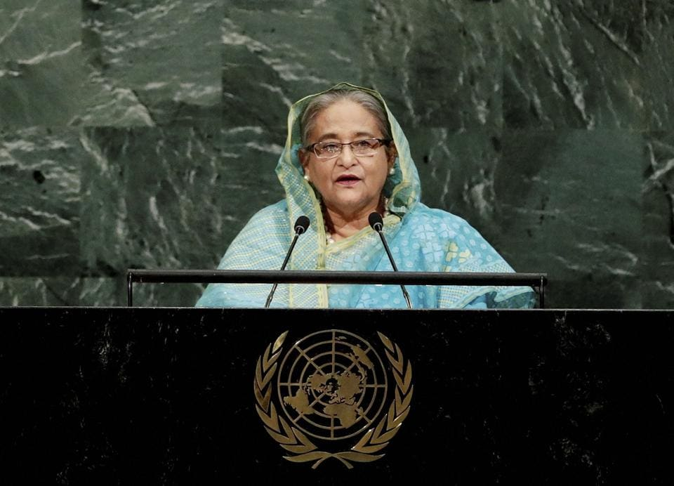 Bangladesh Prime Minister Sheikh Hasina addresses the United Nations General Assembly, Thursday, Sept. 21, 2017, at the U.N. headquarters.