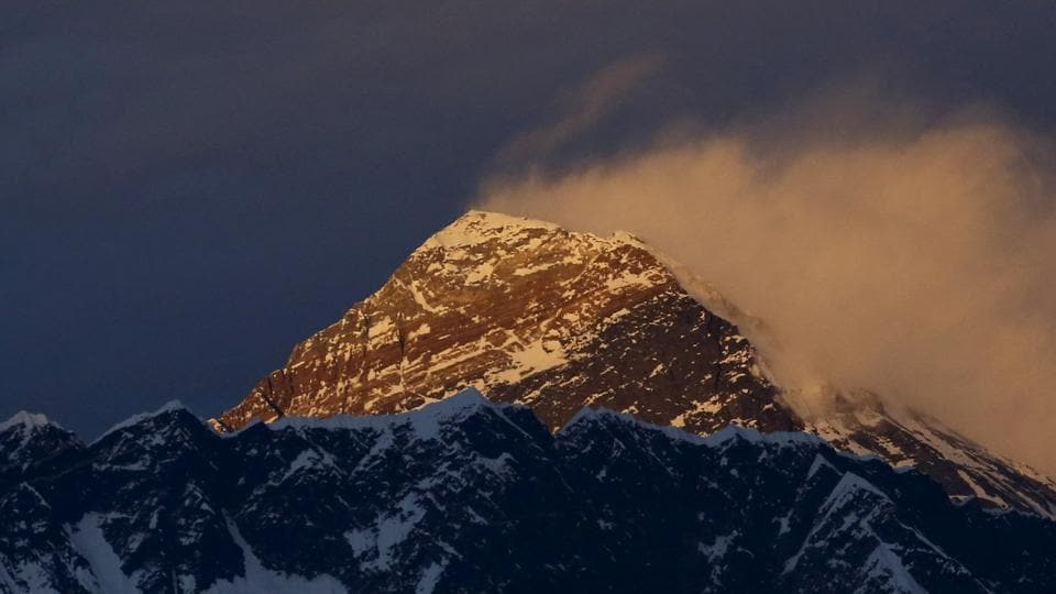 Mount Everest during sunset in the Solukhumbu District, also known as the Everest region.