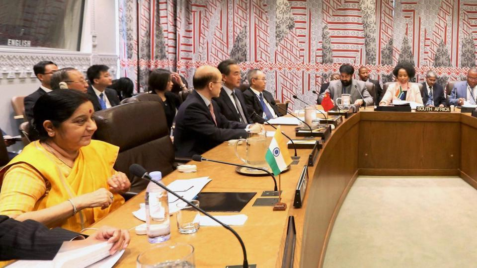 External affairs minister Sushma Swaraj at BRICS Meet at the United Nations in New York on Thursday.