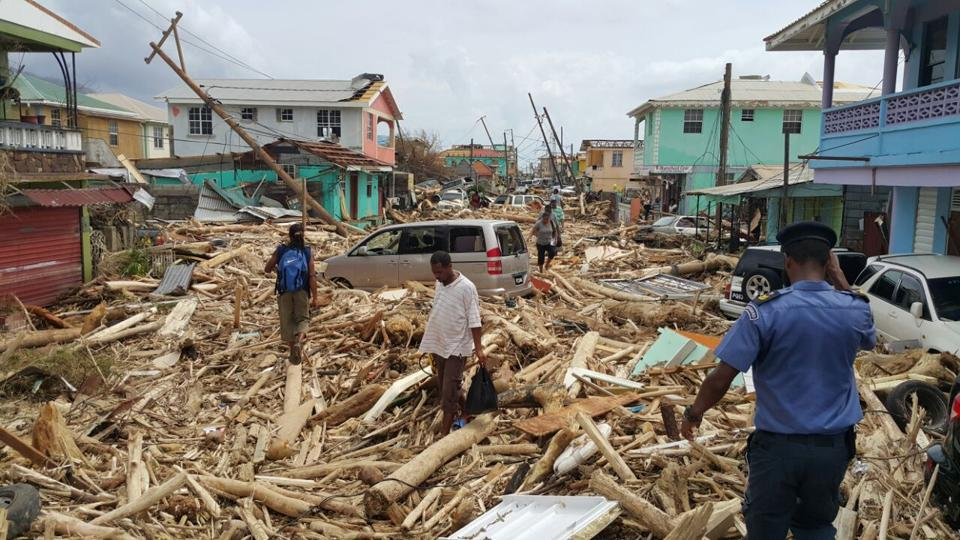View of damage caused by Hurricane Maria in Roseau, Dominica, on September 20.