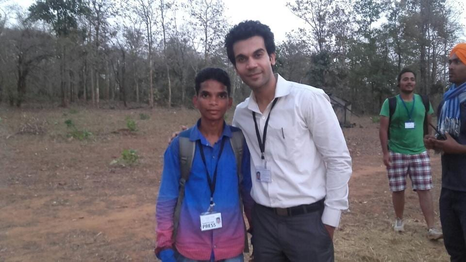 Mangal Kunjam with Rajkummar Rao on the sets of Newton.