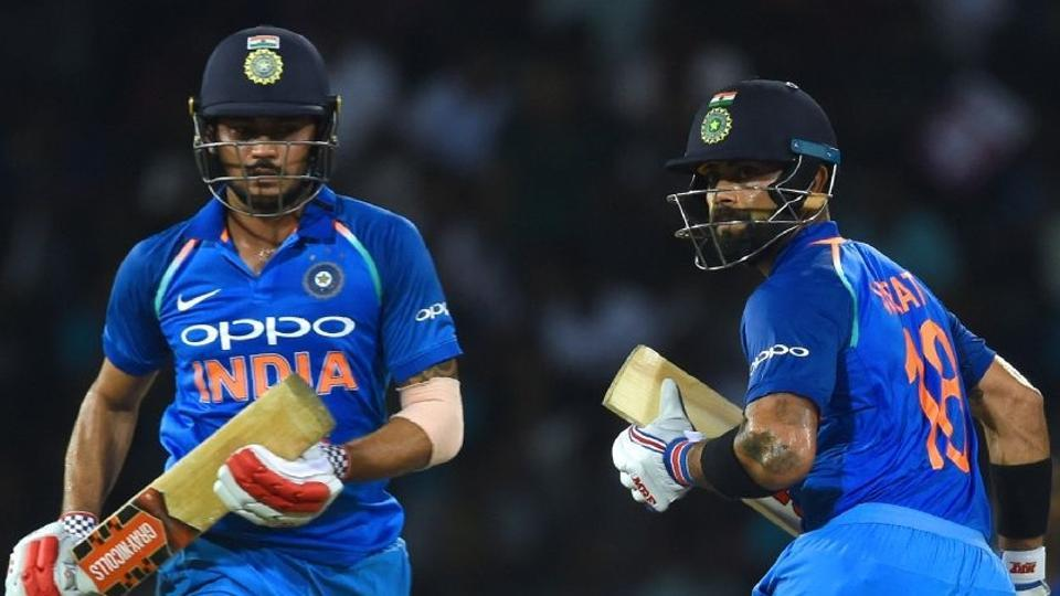 Indian cricket Virat Kohli with Manish Pandey, who comes in at No 4 in the ODIs. While Shikhar Dhawan, Rohit Sharma -- the regular openers -- and Kohli at No 3, generally give India a solid start, the middle order has been iffy and has on my occasions shown signs of being weak, including in the ongoing series vs Australia cricket team.