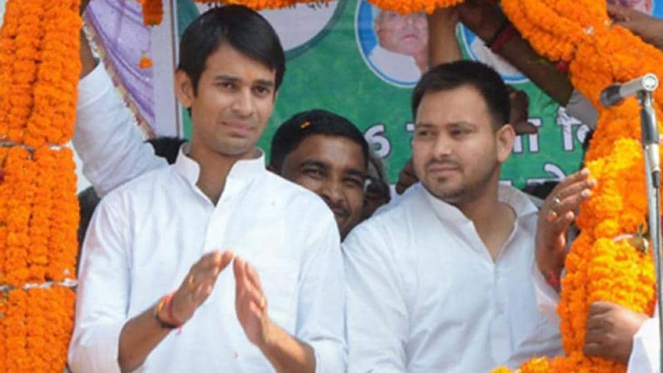 Brothers Tej Pratap Yadav and Tejashwi Prasad Yadav, sons of RJD chief Lalu Prasad.