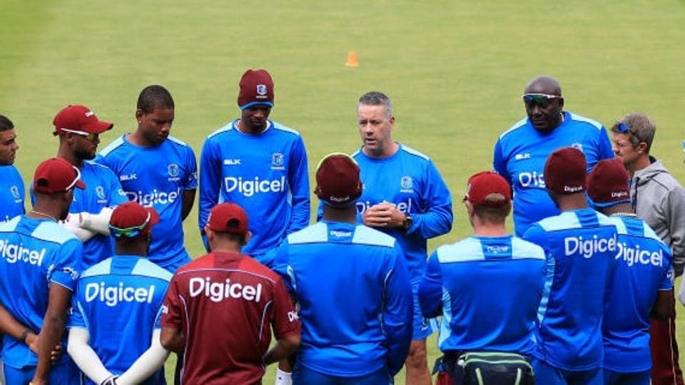 West Indies cricket team coach Stuart Law addresses his players during a training session.