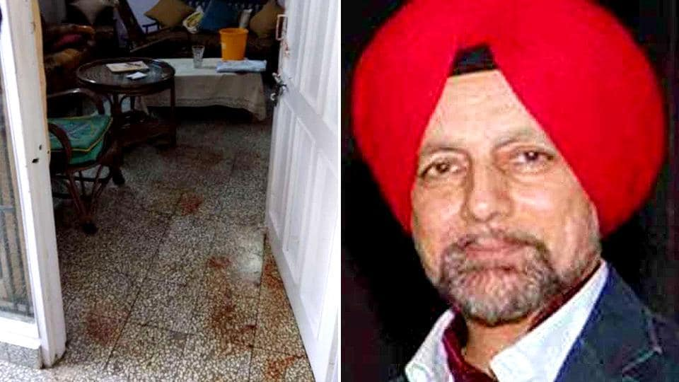 KJ Singh's (right) murder came to light around 1pm when a visitor went inside the house after getting no response at the gate.