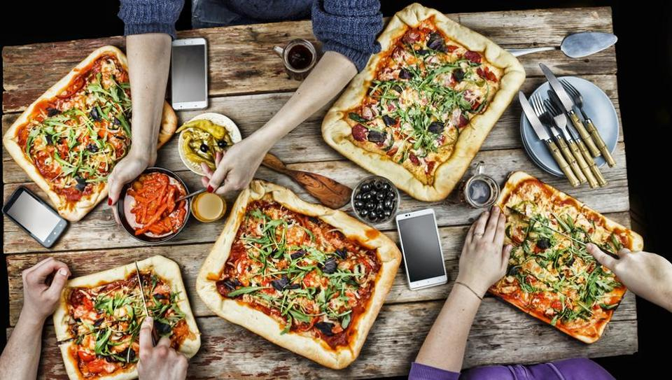 Processed foods such as pizzas are associated with parties or picnics.
