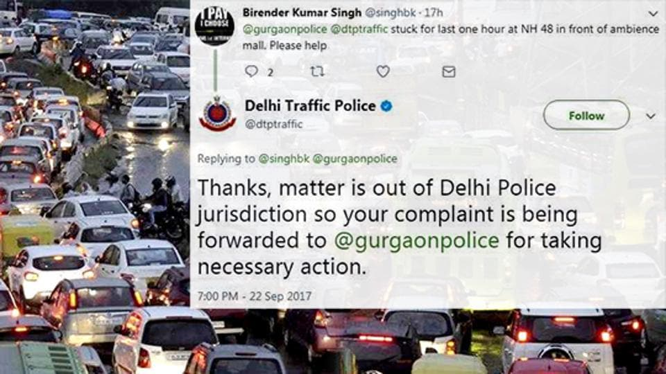 Twitter became witness to a very public blame-game between the Dlehi and Gurugram Police on Friday.