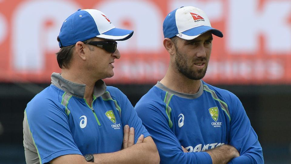 Australian cricketer Glenn Maxwell (R) speaks with team selector Mark Waugh during a training session at the Holkar Stadium in Indore on September 23, 2017.  (AFP)
