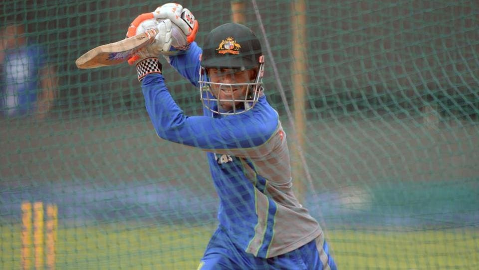 Australian cricketer David Warner bats during a training session at the Holkar Stadium in Indore on September 23, 2017. (AFP)