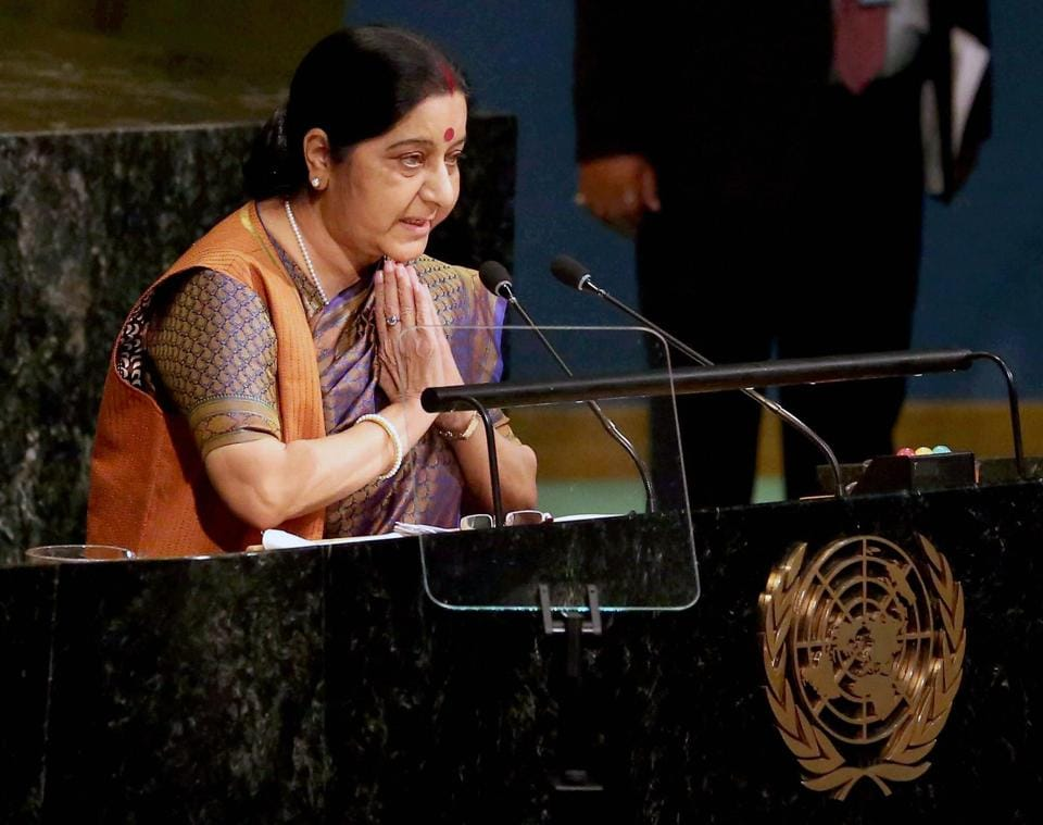 External Affairs Minister Sushma Swaraj during the 72nd United Nations General Assembly in New York.