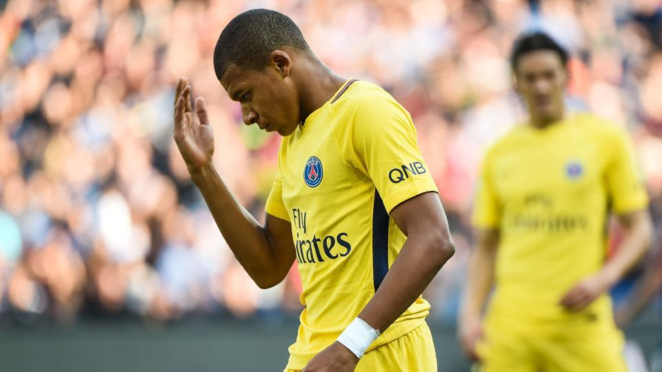 Paris Saint-Germain's French forward Kylian Mbappe reacts during the French Ligue 1 football match between Paris Saint-Germain (PSG) and Montpellier on September 23, 2017 at the Stade de la Mosson stadium in Montpellier, southern France.