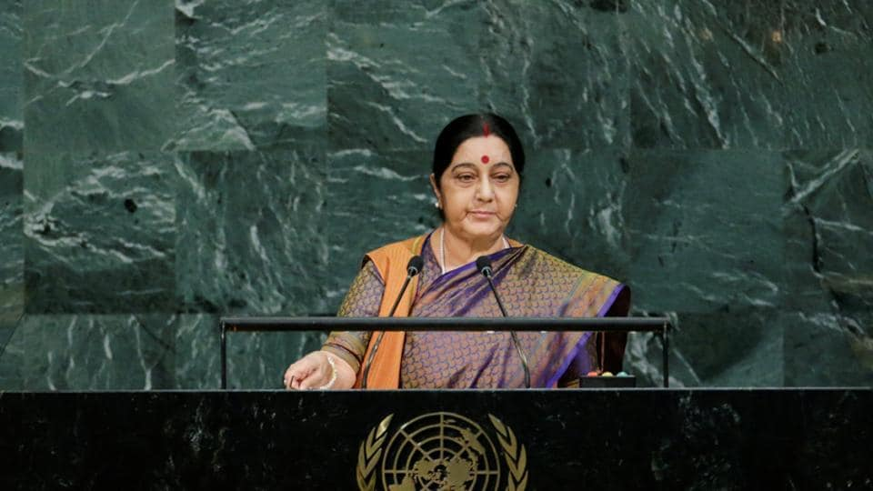 External affairs minister Sushma Swaraj addresses the 72nd United Nations General Assembly at UN headquarters in New York, US, on Saturday.