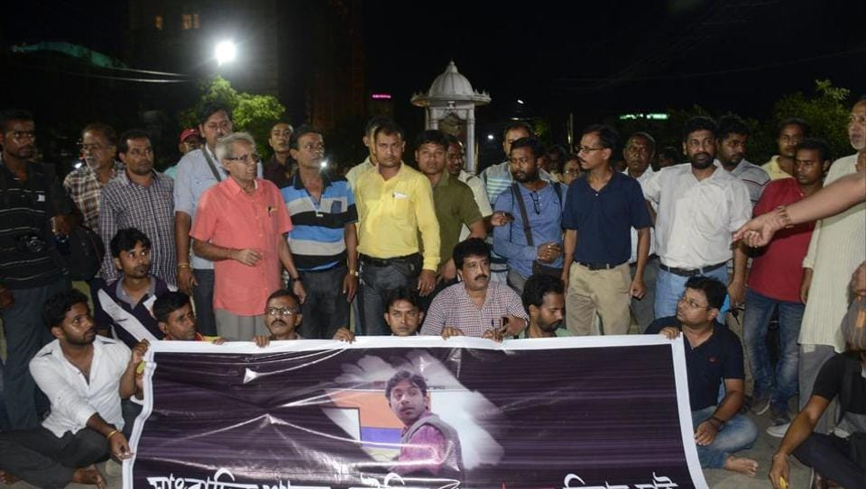 Journalists protesting  in front of chief minister Manik Sarkar's residence in Agartala on September 20  against the murder of  Santanu Bhowmick.  On Saturday, they demanded a CBIprobe into the killing.