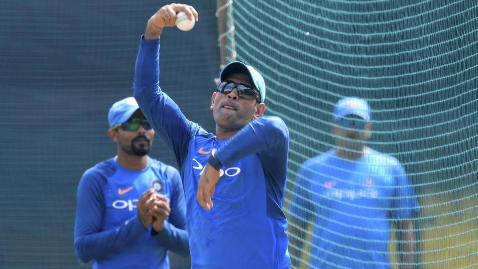MS Dhoni bowls at the nets. The senior player has guided the lower middle order well. (PTI)