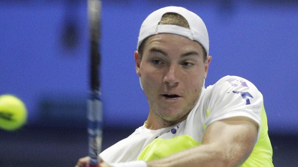 Jan-Lennard Struff returns to Jo-Wilfried Tsonga during the St. Petersburg Open ATP tennis tournament quarterfinals on Friday.